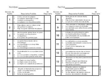 Main Idea Task Cards and Graphic Organizer (Spanish) Animals Theme