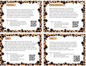 Main Idea QR Task Cards - set one