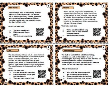 Main Idea QR Task Cards leopard theme - set 2