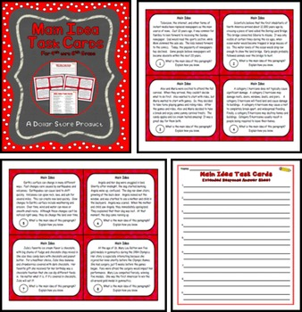 Main Idea Task Cards for 4th, 5th, and 6th Grade
