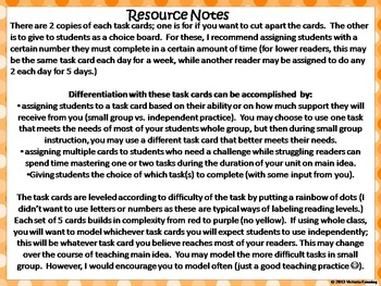 Main Idea Task Cards for Informational Texts