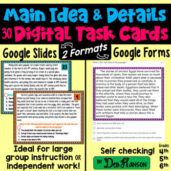 Main Idea Task Cards using Google Forms: A Digital Resource