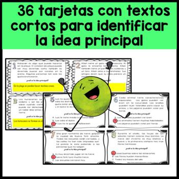 Main Idea in Spanish-Idea principal-Comprensiòn de lectura