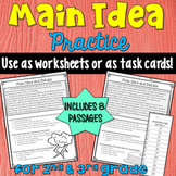 Main Idea Task Cards or Worksheets (grades 2-3)