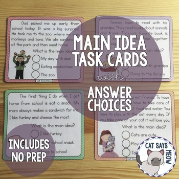 Main Idea Task Cards with Answer Choices for Early/Emergent Readers