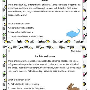 Main Idea Task Cards with QR Code Option- 2 Bonus Worksheets