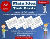 Main Idea Task Cards (with differentiated answer sheets)