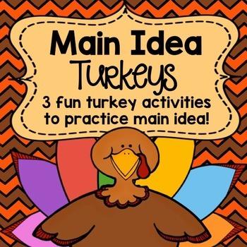 Main Idea Thanksgiving Turkeys Activity Pack