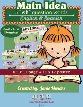 """Main Idea: The 5 """"WH"""" Questions in English & Spanish"""