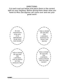 Main Idea (The Grouchy Lady Bug- Eric Carle)