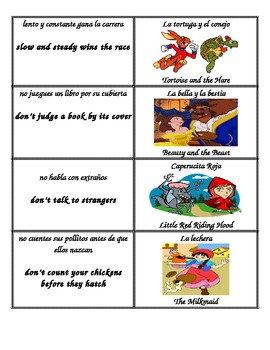 Main Idea Theme Moral Bilingual Match for Fairy tales and Fables
