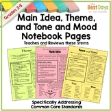 Main Idea Tone Mood and Theme Student Notebook Pages