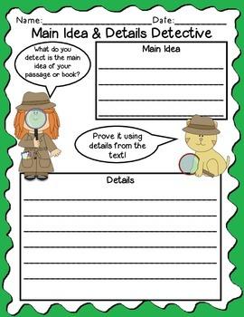 Main Idea, Topic & Details Detective Worksheets
