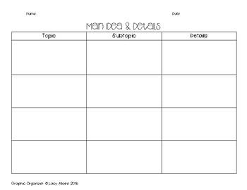 Main Idea, Topic & Details Graphic Organizer