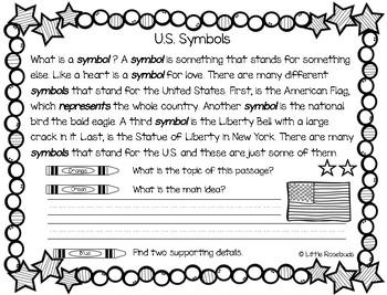 Main Idea U.S. Symbols Freebie 1.3 ~ Leveled