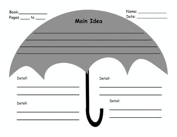 Main Idea Umbrella Graphic Organizer