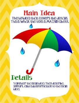 Main Idea Umbrella and Raindrops *FREEBIE*