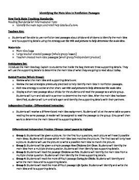 Main Idea Using Nonfiction Text
