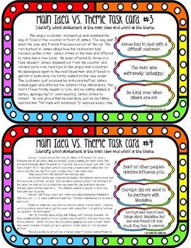Main Idea Vs. Theme Task Cards