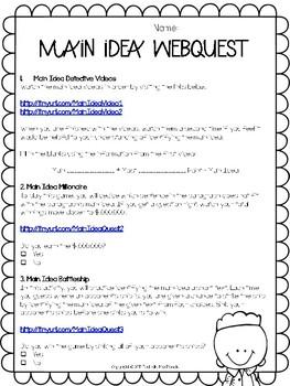 Main Idea and Detials WebQuest