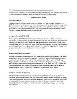 Main Idea Worksheet: What Belongs Under Each Heading?