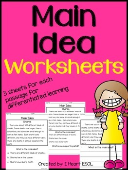 Main Idea Worksheets by I Heart ESOL | Teachers Pay Teachers