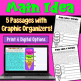 Main Idea Worksheets with Graphic Organizers (grades 4-6)
