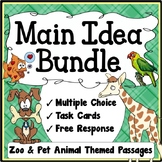 Main Idea Practice {Main Idea Task Cards, MC, and Writing}