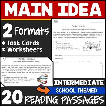 Main Idea Task Cards 3rd Grade by Jason's Online Classroom ...