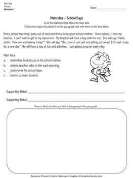 Main Idea Task Cards & Worksheets (Primary)