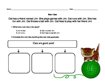 Main Idea Worksheets and Classroom Sign