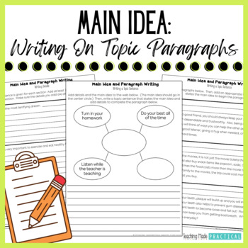 Main Idea - Topic Sentences and other Writing Integration Activities