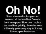 Main Idea activity using Newspaper Headlines