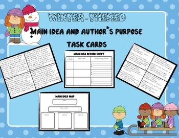 Main Idea and Author's Purpose Task Cards - Winter Themed! (Grades 3-5)