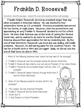Main Idea and Best Title Worksheets- American Presidents ...