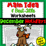 Main Idea and Best Title Worksheets- December Holidays | PDF and Digital |