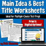 Main Idea and Best Title Worksheets- Read, America, READ!  (includes test prep!)