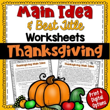 Main Idea and Best Title Worksheets- Thanksgiving (test prep)