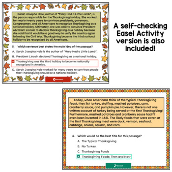 Main Idea and Best Title Worksheets- Thanksgiving (test prep) by Deb ...