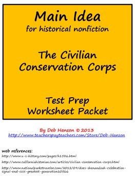 Main Idea and Best Title Worksheets for historical nonfict