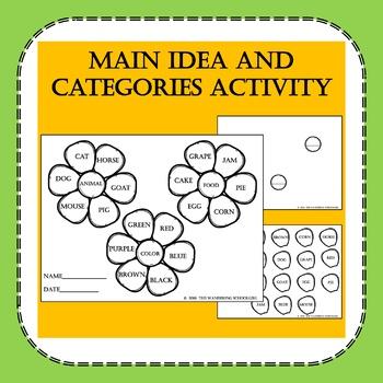 Main Idea and Categories Activity