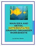 Main Idea and Detail Differentiated Graphic Organizer Worksheets