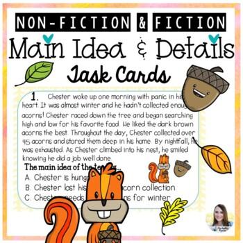 Main Idea and Detail Task Cards (Fall theme)