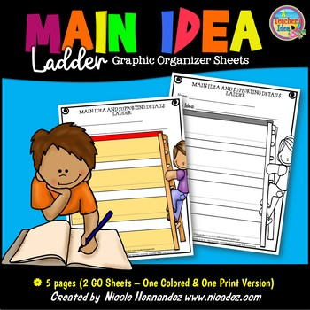 Main Idea and Details Graphic Organizers (Ladder)