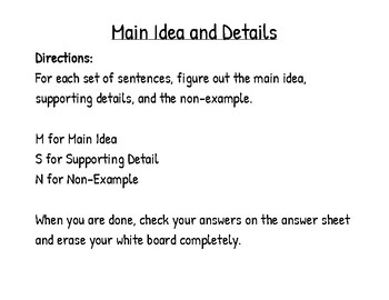 Main Idea and Details Activity