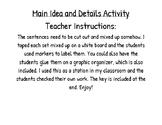Main Idea and Details Activity