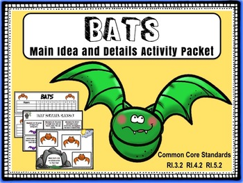 Main Idea and Details:  Bats, Sharks and Spiders Bundled Activity Packets