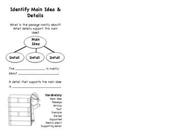 Main Idea and Details Bookmark