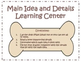 Main Idea and Details Center - Dog theme