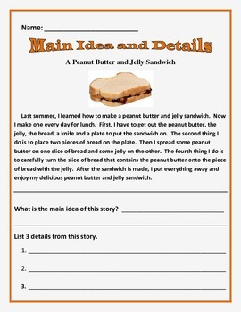 Main Idea and Details - Common Core